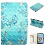 Embossment Light Spot Decor Patterned Leather Case for Samsung Galaxy Tab A 10.5 (2018) T590 T595 – Blue Butterfly