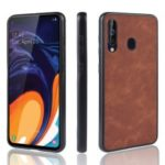 PU Leather Coated TPU + PC Back Phone Casing for Samsung Galaxy A60 – Brown