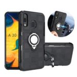 Geometric Pattern TPU PC Hybrid Case with Magnetic Car Mount Ring Holder for Samsung Galaxy A30 / A20 – Black
