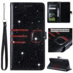 Glitter Powder Coated Wallet Leather Phone Case for Samsung Galaxy A10 / M10 – Black