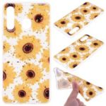 Glitter Sequins Inlaid Patterned TPU Phone Cover for Samsung Galaxy A30 / A20 – Sunflowers