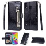 Flash Powder Zippered Stand Leather Wallet Cover with Strap for Samsung Galaxy M20 – Black