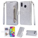 Flash Powder Zippered Stand Leather Wallet Cover with Strap for Samsung Galaxy M20 – Silver