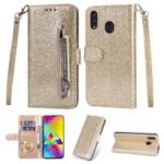 Flash Powder Zippered Stand Leather Wallet Cover with Strap for Samsung Galaxy M20 – Gold