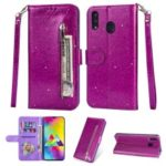 Flash Powder Zippered Stand Leather Wallet Cover with Strap for Samsung Galaxy M20 – Purple