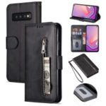 Zipper Wallet Flip Stand Leather Casing with Strap for Samsung Galaxy S10 – Black