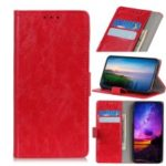 Crazy Horse Auto-absorbed Split Leather Wallet Case for Samsung Galaxy A90/A80 – Red