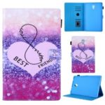 Pattern Printing Stand Leather Flip Tablet Case for Samsung Galaxy Tab A 10.5 (2018) T590 T595 – Heart and Glitter Elements