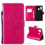 Imprinted Butterfly Flower PU Leather Mobile Case for Samsung Galaxy A40 – Rose
