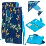 Pattern Printing Leather Wallet Case for Samsung Galaxy A40 – Blue Butterflies