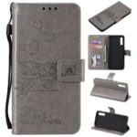 Imprinted Flower Owl Leather Wallet Case for Samsung Galaxy A50 – Grey