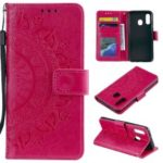 Imprint Mandala Flower Stand Wallet Leather Case for Samsung Galaxy A40 – Rose