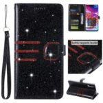 Glitter Powder Coated Wallet Leather Phone Case for Samsung Galaxy A70 – Black