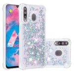Liquid Glitter Powder Patterned Quicksand Shockproof TPU Back Casing for Samsung Galaxy A70 – Silver Love Hearts