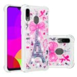 Liquid Glitter Powder Patterned Quicksand Shockproof TPU Back Case for Samsung Galaxy A30 / A20 – Eiffel Tower with Bowknot