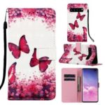 Pattern Printing Light Spot Decor Leather Wallet Case for Samsung Galaxy S10 5G – Butterfly and Flower