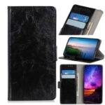 Crazy Horse Leather Stand Wallet Phone Cover for LG G8s ThinQ – Black