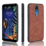 PU Leather Coated TPU Back Phone Case for LG K40/K12+/K12 Plus – Brown