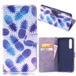 Laser Carving Pattern Printing Wallet Leather Case with Strap for Huawei P30 – Pineapple