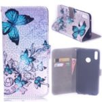 Laser Carving Pattern Printing Wallet Leather Stand Case with Strap for Huawei Y7 (2019)/Y7 Prime (2019) – Blue Butterfly