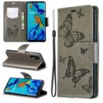 For Huawei P30 Pro PU Leather Imprint Butterflies Phone Case – Grey