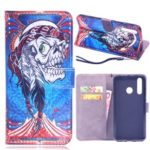 Laser Carving Pattern Printing Wallet Leather Case with Strap for Huawei nova 4 – Tribal Feather Skull