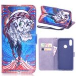 Laser Carving Pattern Printing Wallet Leather Case with Strap for Huawei Y6 (2019) – Tribal Feather Skull