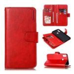 9 Card Slots Crazy Horse Leather Wallet Case for Huawei Y9 (2019)/Enjoy 9 Plus – Red