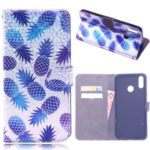 Laser Carving Pattern Printing Wallet Leather Cover for Huawei Y9 (2019)/Enjoy 9 Plus – Pineapple