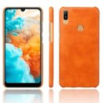 Crazy Horse PU Leather Coated Plastic Case for Huawei Y6 (2019) – Orange