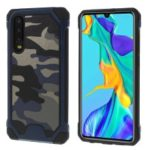 Camouflage Leather Coated PC TPU Combo Case for Huawei P30 – Dark Blue