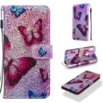 Pattern Printing Glitter Sequins Leather Wallet Case for Huawei Honor 8A / Y6 (2019) – Butterfly