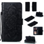 For Huawei P30 Imprint Mandala Flower Wallet Leather Case Phone Cover – Black