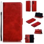 Leather Wallet Stand Flip Phone Case Cover for Huawei P30 – Red