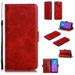 Leather Wallet Stand Flip Phone Case Cover for Huawei Y7 Pro (2019)/Enjoy 9/Y7 (2019) – Red