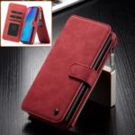 CASEME 14 Slots Detachable 2-in-1 Split Leather Wallet Casing for Huawei P30 Pro – Red