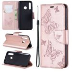 Imprint Butterfly Leather Wallet Case for Huawei P Smart Plus 2019 / Enjoy 9s / Honor 10i – Rose Gold