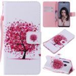 Pattern Printing Wallet Stand Leather Phone Cover for  Huawei P30 Lite/nova 4e – Red Tree