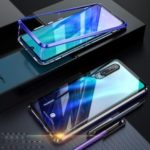 Detachable Magnetic Metal Frame + Tempered Glass Back Hybrid Cover for Huawei P30 – Blue