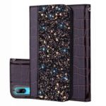 Crocodile Texture Glittery Sequins Splicing PU Leather Auto-absorbed Case for Huawei Y7 Pro (2019) – Black