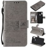 Imprint Two Beloved Owls Magnetic Wallet PU Leather Stand Case for Huawei Y6 (2019, with Fingerprint Sensor) / Y6 Prime (2019) / Honor 8A – Grey