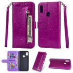 Glitter Powder Zippered Stand Leather Wallet Case with Strap for Huawei Y6 (2019, with Fingerprint Sensor) / Y6 Prime (2019) – Purple