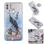 Embossment Pattern Quicksand TPU Protective Back Case for Huawei Y7 (2019) – Black Feather