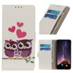Pattern Printing Leather Wallet Case for Huawei Honor 20 Pro – Owls and Hearts