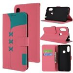 Embroidery Wallet Stand Flip Leather Protective Case for Huawei Y6 (2019, with Fingerprint Sensor)/Y6 Prime (2019) – Pink