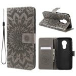 Imprint Sunflower PU Leather Wallet Magnetic Stand Cover for Motorola Moto G7 Power (EU Version) – Grey