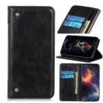 Crazy Horse Auto-absorbed Split Leather Wallet Phone Shell for Motorola P40 Power – Black