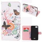 Pattern Printing Leather Wallet Case for Xiaomi Redmi 6A (Single 12MP Rear Camera) – Butterfly Circles