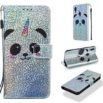Pattern Printing Glitter Sequins Leather Wallet Case for Xiaomi Redmi Note 7 / Redmi Note 7 Pro (India) – Panda