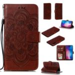 For Xiaomi Mi 9 Imprint Mandala Flower Stand Leather Phone Case Cover – Brown